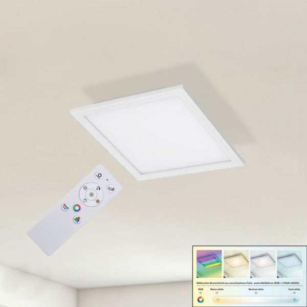 RGB LED Deckenpanel Peters-Living 6471129 Büro Fernbedienung Dimmbar